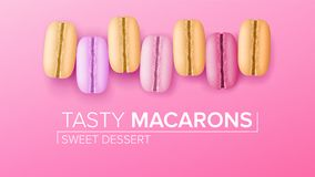 Macarons Set Vector. Top View. Colourful Sweet French Macaroons On Pink Background Illustration. Stock Image