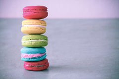 Macarons set with vintage pictures style or sweet pictures style Stock Images
