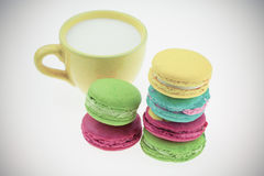 Macarons set with vintage pictures style or sweet pictures style Stock Photography