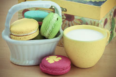 Macarons set with vintage pictures style or sweet pictures style Royalty Free Stock Photo