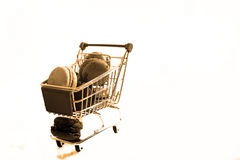 Macarons in a shopping cart Royalty Free Stock Image
