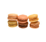 Macarons. Six macarons  isolated on a white background Royalty Free Stock Photo