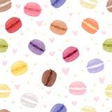 Macarons smakowitego torta kolorów ustalony różny macaroon s z owocowym wektorowym ilustracyjnym bezszwowym deseniowym tłem Zdjęcia Royalty Free