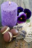 Macarons, sprigs of lavender and viols. Royalty Free Stock Photo