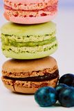 Macarons stack in three colors royalty free stock photo