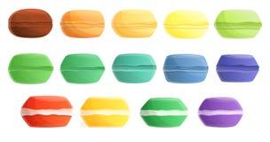 Macarons symboler uppsättning, tecknad filmstil royaltyfri illustrationer