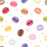 Macarons tasty cake set different colors macaroon s with fruit vector illustration seamless pattern background vector illustration