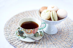 Macarons and tea Royalty Free Stock Photo