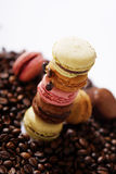 Macarons tower. Many macarons among a bunch of coffee beans Stock Images