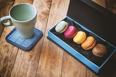 Macarons with vintage style. stock images