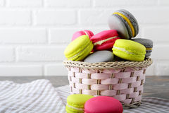 Macaroon in the basket stock photo