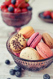 Macaroon with berries Royalty Free Stock Photos