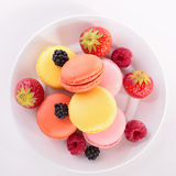 Macaroon and berry fruit Stock Photography