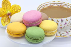 Macaroon biscuits at tea time. Royalty Free Stock Images
