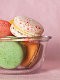 Macaroon in bowl. Macaroon in a glass bowl Stock Photo