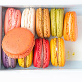 Macaroon in the box on white background. Macaroon in the box with white background royalty free stock photo
