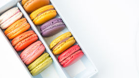 Macaroon in the box on white background. Macaroon in the box with white background stock images