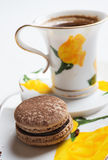 Macaroon cake with cup of coffee Royalty Free Stock Photos