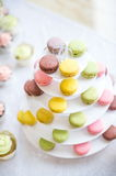 Macaroon on cake stand. Macaroon with different colours and favours served on cake stand Stock Photography