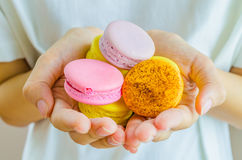 Macaroon. Colorful Macaroon in the hand Royalty Free Stock Image