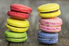 Macaroon colorful. On the wooden floor Royalty Free Stock Image