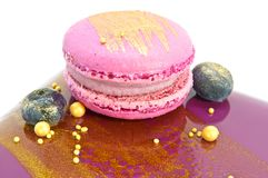 Macaroon cookie on cake Royalty Free Stock Photography