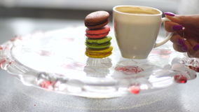 Macaroon cookies and coffee stock footage