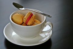 Macaroon Cookies in a Cup. French cream filled macaroons, cookies or biscuits in a tea or coffee cup with a spoon Stock Image