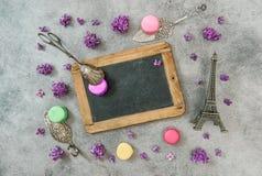 Macaroon cookies with Eiffel tower Paris souvenir Stock Photos