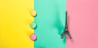 Macaroon cookies Macarons french cake Eiffel tower Paris Stock Image