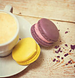 Macaroon and a cup of coffee. Espresso Stock Photography