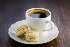 Macaroon and a cup of coffee Royalty Free Stock Image