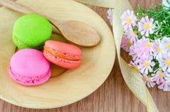 Macaroon, dessert, retro, sweet, background, pile, french, close Stock Image