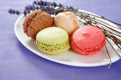 Macaroon dessert in a saucer Royalty Free Stock Photography