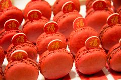 Macaroon foods and on buffet Royalty Free Stock Image