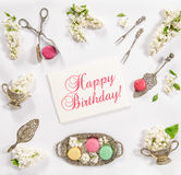 Macaroon french cookies, vintage dishes Happy Birthday Royalty Free Stock Photography