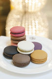 Macaroon. A french sweet delicacy, macaroons variety closeup Royalty Free Stock Image