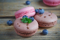 Macaroon with fresh blueberries and chocolate Stock Photos