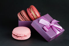 Macaroon in a gift box Royalty Free Stock Photos