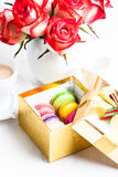 Macaroon in gift box Stock Images