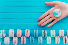 Macaroon or macaron lies in the hand of a girl on a wooden turquoise background. Gift from almond cookies, copy space.  Royalty Free Stock Image