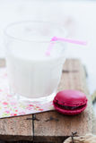 Macaroon and milk Stock Images