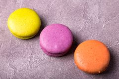 Macaroon on pink background. Copy space,top view Royalty Free Stock Photography