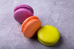 Macaroon on pink background. Copy space,top view Stock Images