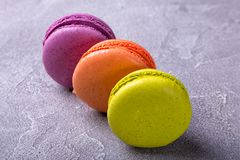 Macaroon on pink background. Copy space,top view Stock Photo
