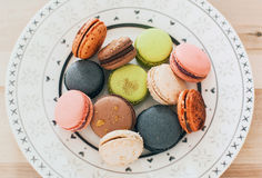 Macaroon. Plate with macaroon cookie dessert Royalty Free Stock Photo