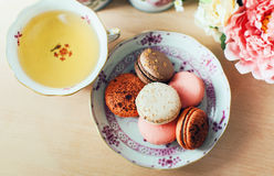 Macaroon. Plate with macaroon cookie dessert Stock Image