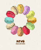 Macaroon. Poster with traditional French macaroon cakes, cupcakes and berries in vintage style. Retro card. Stock Images