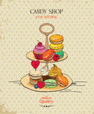 Macaroon. Poster with traditional French macaroon cakes, cupcakes and berries in vintage style. Retro card. Royalty Free Stock Photo