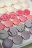 Macaroon Prepare. Violet Pink White Color Macaroon Prepare Bake Stock Photos